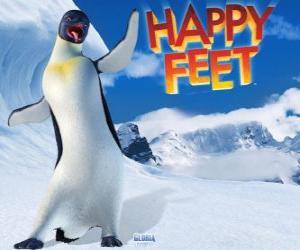 Puzle Gloria é um pinguim imperador do sexo feminino, Mano ou Mumble está apaixonado de Gloria no filme Happy Feet