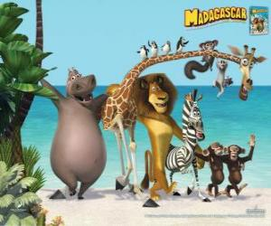 Puzle Glória a hipopótamo, Melman a girafa, o leão Alex, Marty a zebra com outros protagonistas das aventuras