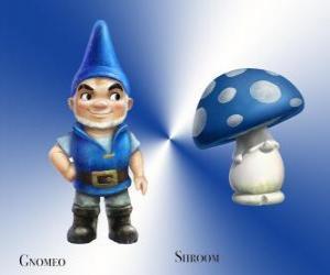 Puzle Gnomeo é um belo e orgulhoso Blue Garden Gnome, junto com sua leal e fiel companheiro de gesso Cogumelo Cogumelo