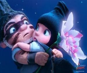 Puzle Gnomeo e Julieta, em uma cena do filme