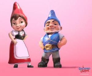 Puzle Gnomeo e Julieta, os protagonistas de um filme baseado em Romeu e Julieta de Shakespeare