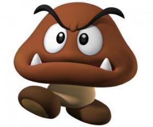 Puzle Goomba, inimigo de Mario, uma espécie de cogumelo, com os pés