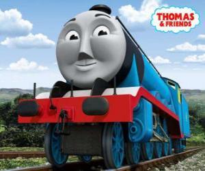 Puzle Gordon, a locomotiva azul com o número 4, o trem expresso