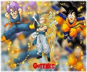 Puzle Gotenks, um dos personagens mais poderosos criados pela fusão entre Son Goten e Trunks