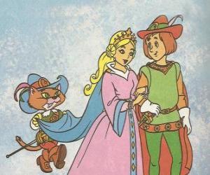 Puzle Graças à o engenho do Gato de Botas o filho mais novo do moleiro tornou-se o Marquês de Carabás e se casar com a linda princesa