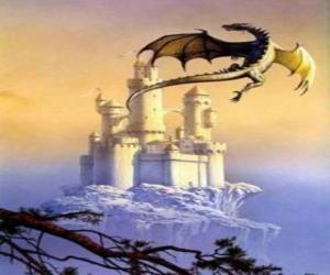 Puzle Grande dragão alado voando