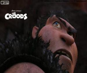 Puzle Grug, um homem das cavernas e patriarca da família Croods