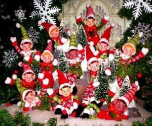 Puzle Grupo de elfos de Natal