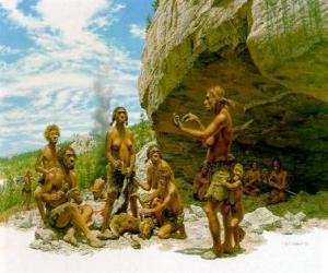 Puzle Grupo de homens de Neanderthal sob a proteção de um abrigo rochoso, os indivíduos exercem actividades diferentes: alguns entalhando pedras, outros se preparando para caçar