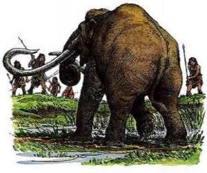 Puzle Grupo de homens prehistóricos armados com lanças na caçeria de um mamute