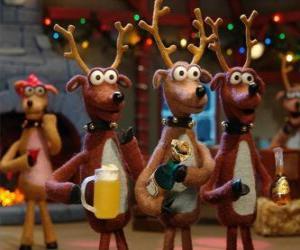 Puzle Grupo de renas de Natal comemorar o Natal