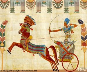 Puzle Guerreiro egípcio e carruagem