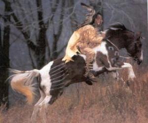 Puzle Guerreiro índio cavalgando