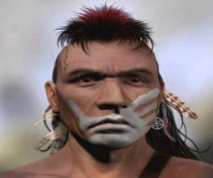 Puzle Guerreiro índio com o rosto pintado