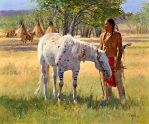Puzle Guerreiro índio com seu cavalo perto do acampamento