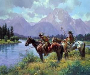 Puzle Guerreiros índios a cavalo