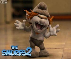 Puzle Hackus, uma impertinente criatura semelhante a um Smurf criado por Gargamel