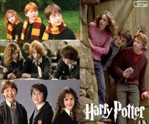 Puzle Harry Potter e seus amigos Ron e Hermione