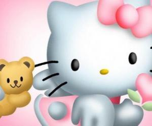 Puzle Hello Kitty com ela Teddy Bear Tiny Chum