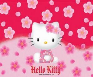 Puzle Hello Kitty com flores