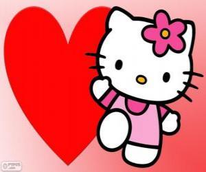 Puzle Hello Kitty com um grande coração