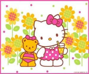 Puzle Hello Kitty com uma bebida no campo com seu ursinho de pelúcia Tiny Chum