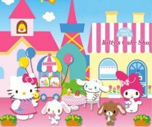 Puzle Hello Kitty e seus amigos desfrutando de um dia em pastelaria