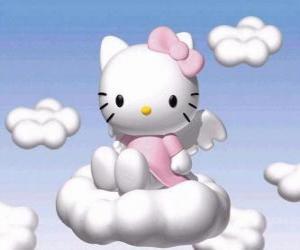 Puzle Hello Kitty voando sobre uma nuvem