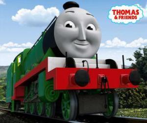 Puzle Henry, a locomotiva verde longa e rápida com o número 3
