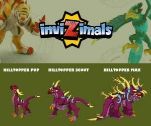 Puzle Hilltopper em três fases Hilltopper Pup, Hilltopper Scott e Hilltopper Max, Invizimals