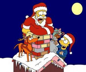 Puzle Homer e Bart Simpson ajudam Papai Noel com presentes