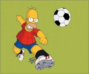 Puzle Homer Simpson jogar futebol