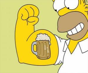 Puzle Homer Simpson orgulhoso de sua força