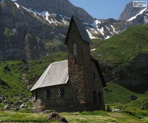 Puzle Igreja de alta montanha, Suíça