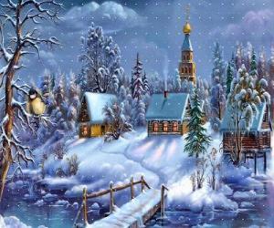 Puzle Igreja no Natal com o pinheiro sob as estrelas