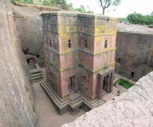 Puzle Igrejas lavradas na rocha de Lalibela, na Etiópia.