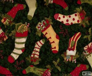 Puzle Imagem de meias e botas de Natal