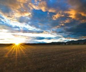 Puzle in paisagem de campo de um dia de outono