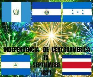 Puzle Independência da América Central, 15 set 1821. Comemoração da independência da Espanha no actuais países de Guatemala, Honduras, El Salvador, Nicarágua e Costa Rica