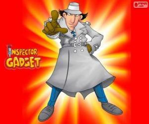 Puzle Inspector Gadget ou Inspetor Bugiganga está vestido como o famoso inspetor Closeau
