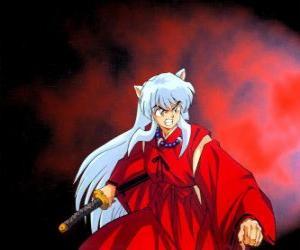 Puzle Inuyasha, um meio-demônio do Japão feudal, onde vive aventuras emocionantes