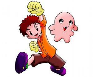 Puzle Izzy com o seu digimon Motimon. Koushiro Izumi é um cara muito inteligente