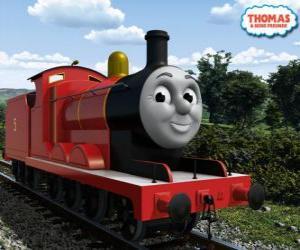 Puzle James, a locomotiva esplêndida vermelha com o número 5