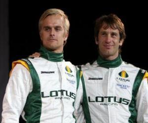 Puzle Jarno Trulli e Heikki Kovalainen, pilotos da equipe Lotus Racing