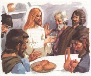 Puzle Jesus abençoou o Pão eo Vinho na Última Ceia