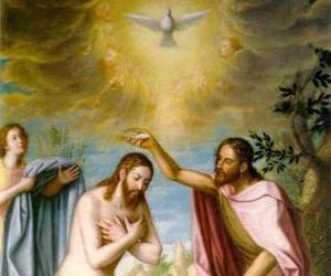 Puzle Jesus é batizado por João Baptista no rio Jordão