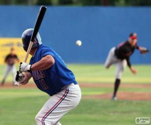 Puzle Jogador profissional de baseball, o rebatedor ou batedor com o bastão erguido