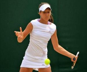 Puzle Jogadora de ténis pronto para um golpe