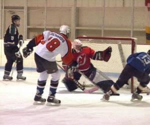 Puzle Jogadores e  guarda-redes numa partida de hóquei no gelo ou hóquei sobre o gelo