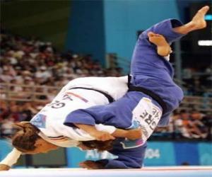 Puzle Judô - Dois judokas praticando